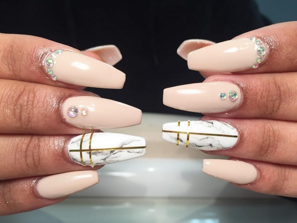Rock a Stone Marble Nail Design